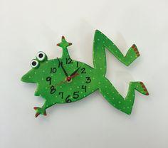 New to PondScumCeramics on Etsy: Clock Frog Clock Kids clock Wall ClockNursery clock Wall Clock Hand painted clock (48.00 USD)