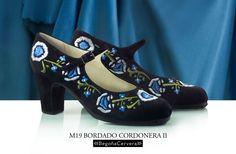 Zapato profesional de flamenco Begoña Cervera Modelo Bordado Correa II