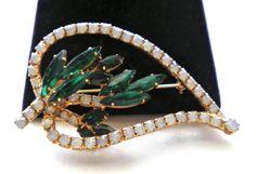 Vintage Big Opal & Emerald Green Rhinestone Cabs by JoolsForYou, $35.00