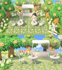 Wild Animals 382454193359570598 - Check out my cute little outdoor cafe! – AnimalCrossing Source by leaauvin Animal Crossing Cafe, Animal Crossing Wild World, Animal Crossing Qr Codes Clothes, Vintage Party, Logo Vintage, Outdoor Cafe, Indoor Outdoor, Outdoor Areas, Motif Acnl