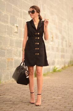 Black with gold accents Work Fashion, Fashion Looks, Nude Shoes, Ruched Dress, Trina Turk, Badgley Mischka, Black Sandals, Tory Burch