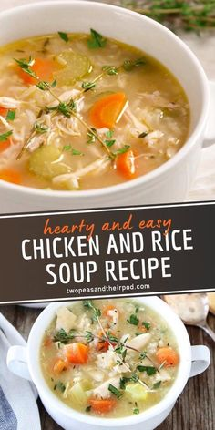 Easy Chicken And Rice Soup Recipe, Chicken Soup Recipes, Healthy Soup Recipes, Vegetarian Recipes, Cooking Recipes, Recipe Chicken, Chicken Chili, Turkey Soup With Rice, Kids Soup Recipes