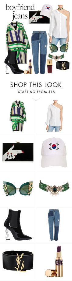 """""""Korean Street fashion"""" by saney ❤ liked on Polyvore featuring MSGM, DL1961 Premium Denim, Charlotte Olympia, Dolce&Gabbana, Shourouk, Yves Saint Laurent and River Island"""