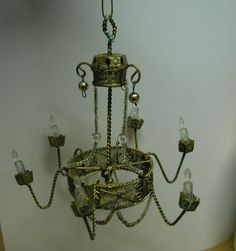 DOLL HOUSE CHANDELIER ORNAMENT METAL VINTAGE