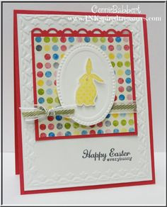 SU! Ears to You and Happy Easter Everybunny (sentiment) stamp sets; Sunshine & Sprinkles DSP; Melon Mambo card stock; Old Olive striped ribbon - Connie Babbert