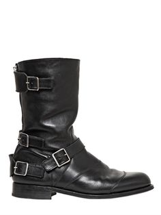 a589d9f26a8fe BALMAIN - 30MM BELTED LEATHER BOOTS Men s Shoes, Shoe Boots, I Dress,  Leather