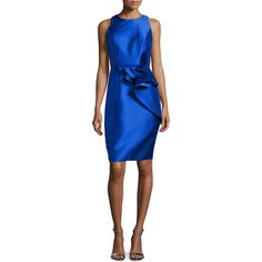 Carmen Marc Valvo Sleeveless Ruffle-Trim Satin Cocktail Dress ($247) ❤ liked on Polyvore featuring dresses, royal, sleeveless cocktail dress, sleeveless sheath dress, blue sleeveless dress, flounce dress and sheath dress