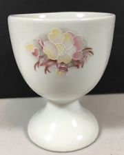 Porcelain Pink And Yellow Flower Detail Egg Cup Vintage