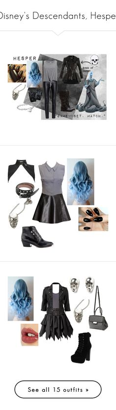 """""""Disney's Descendants, Hesper"""" by paisley099 ❤ liked on Polyvore featuring Reclaimed Vintage, Blue Nile, Yves Saint Laurent, Vero Moda, Alexander McQueen, Hades, disneydescendants, H&M, Chanel and Neat Collar"""