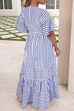 Shyfull Sweet V Neck Striped Ankle Length Dress Blue Dresses, Casual Dresses, Summer Dresses, Party Dresses, Evening Dresses, Wedding Dresses, V Neck Dress, Shirt Dress, Dress Skirt