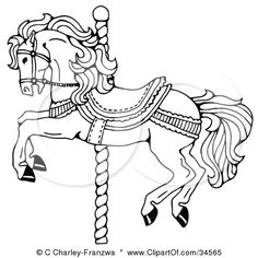 Pen And Ink Drawing Of A Muscular Victorian Horse Trotting To The Right By C Charley Franzwa Find This Pin More On Carousel Animal Coloring Pages