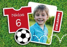 Tolle Kinder-Fußball-Einladungskarte zum 6. Geburtstag mit Foto #einladunggeburtstag.de