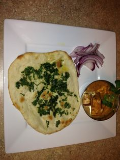 Homemade Naan and paneer curry