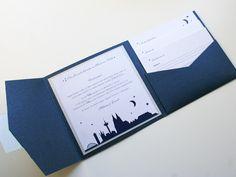 Pocket Fold Einladung Koeln, Mond Sterne, Blau+Silber