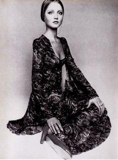 Ingrid Boulting modelling a green and amber devore velvet Biba couture dress, Vogue (December 1969)