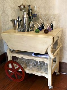 tea cart turned bar cart