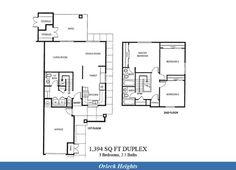 Naval Complex San Diego – Orleck Heights (Murphy Canyon) Neighborhood: 3 bedroom 2.5 bathroom home floor plan.