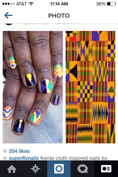"""Kente cloth inspired nails! Black history month nails. African art nail designs. """"Kente cloth nails"""". I did these on my 10 year old's nails for black history month"""