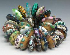SJC Lampwork 36 handmade silver glass tapered disc beads ~SRA~ USA~ #SJCLampwork #Lampwork