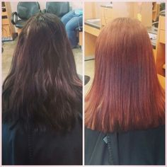 Before and after brown to red haircut #hairbyamie