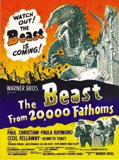 Beast from 20,000 Fathoms is a 1953 B movie about an atomic bomb test in the Arctic Circle that unfreezes a hibernating dinosaur, the fictional Rhedosaurus, which begins to wreak havoc in New York City. It was one of the first giant monster movies that helped inspire the following generation of creature features.
