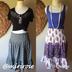 Bundle of 2 Festival Skirts If you have these two hippie skirts, you've got all you need to keep cool this summer. Perfect with a tank top or your favorite band t-shirt. Dress it up or down. Wear it at your waist or hips. Comfortable 100% Indian cotton with stretchy elastic waist. Says L but could probably work for S to L. Both for $30!! Planet Gold Skirts A-Line or Full