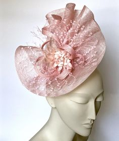 Kentucky Derby Hat Pink Fascinator Headband, Church Wedding Hat, Derby Party Hat, Derby Hats for Women Sinamay Hats, Millinery Hats, Fascinators, Headpieces, Derby Outfits, Outfits With Hats, Pink Suits Women, African Hats, Pink Fascinator