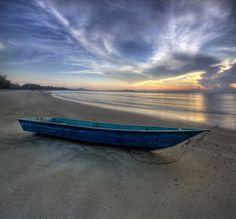 blue boat....