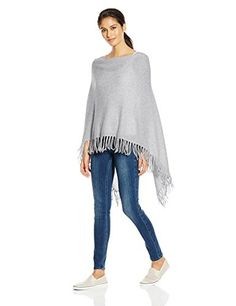 Minnie Rose Women's Cashmere Fringe Ruana Sweater Poncho, Heather Grey, One Size