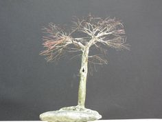 Copper wire tree - Bonsai or Penjing style - Recycled material - Natural rock - Wabi Sabi