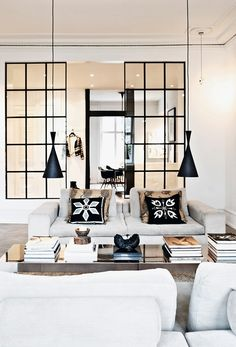 interior decorating tips: 10 interiores con puertas de cristal y marco beautiful interiors with black framed glass doors Home Interior, Interior Architecture, Interior Decorating, Interior Windows, Decorating Ideas, Apartment Interior, Interior Modern, Scandinavian Interior, Simple Interior