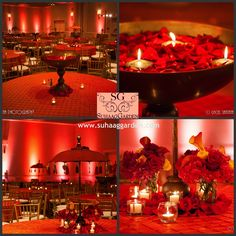 Decor #sangeetcenterpieceinspiration by #suhaaggarden :-)   BIG TIPS for a SMALL BILL:  1.  Maximize on candles - #traditionalurlis and #rajasthaniparasols combined with #candles, #redburntorangeyellow 2.  Utilize fabrics and lighting to create an atmosphere and ambiance: #funandfestivesangeet 3.  Stylish use of floral - focus on the details:  #floatingpetals, #floraldetails  BE Inspired by #SG! | Event Styling & Decor:  #suhaaggarden | Photographer:  Gaciel Santana Photography