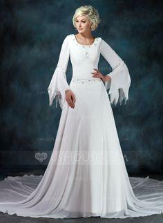 [Kr 1 392] A-linjeformat Rund-urringning Chapel släp Chiffong Bröllopsklänning med Rufsar Pärlbrodering