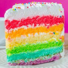 A moist vanilla cake recipe made with many colors of the rainbow.. Rainbow Vanilla Cake Recipe from Grandmothers Kitchen.