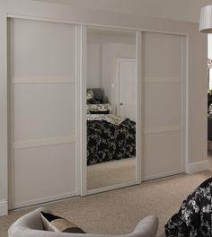 White Shaker panel door and White Shaker mirror door