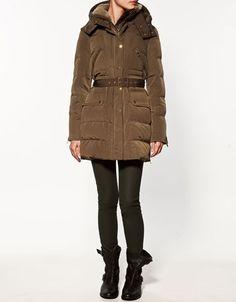 Zara Puffer Jacket with Hood and Collar  $169.00
