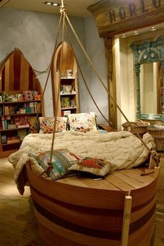Kid's room design ideas: Boat Bed so freaking kool I even want one lol Cool Kids Bedrooms, Cool Rooms, Girls Bedroom, Bedroom Ideas, Kids Rooms, Bedroom Decor, Nautical Bedroom, Nautical Theme, Pirate Bedroom
