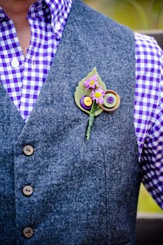 Groom's Purple and Green Button Boutonniere by Elevate Photography | Two Bright Lights