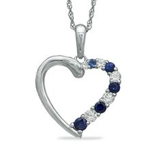 Lab-Created Blue and White Sapphire Journey Heart Pendant in 10K White Gold - Zales
