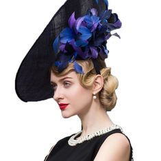 80b984a3 Fascinator Hat Large Brim Ascot Aristocratic Fedora Royal Blue Linen  Wedding #Vintage #Derby