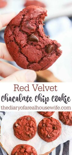 I LOVE this Red Velvet Chocolate Chip Cookie. Some of the best cookies I have ever made. Best Homemade Cookie Recipe, Easy Cookie Recipes, Homemade Cookies, Dessert Cake Recipes, Fun Desserts, Delicious Desserts, Bar Recipes, Baking Recipes, Snack Recipes