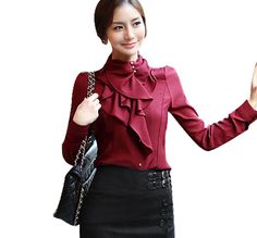 Little Hand Women's Satin Tops Flouncing Blouse Button Ruffle Shirt at Amazon Women's Clothing store: Athletic Shirts