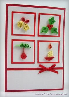 handmade Christmas card ... matted inchies with quilled Christmas icons ... from Felicitari quilling simboluri craciun