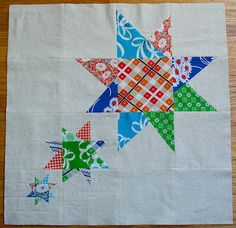 Wonky star quilt block tutorial; one block makes a pillow, four make a baby quilt and eight make a full size quilt. Love it! Sew Mama Sew
