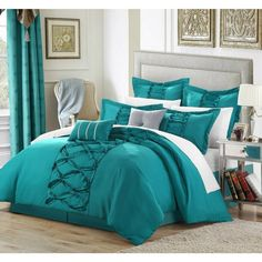 Romantic Comforter Sets Cute Queen Adult King Size Bed Bedroom Turquoise 12Pc Product Description: This elegant and simple design so rich in detail and yet so simply elegant will add a designer's touc