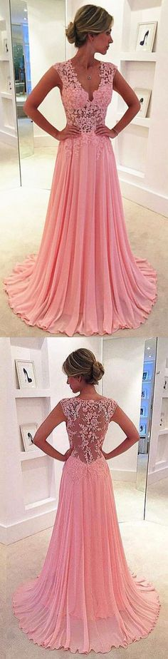 2016 Graduation Dresses,Pink Lace prom dress,Long Illusion evening dress,Chiffon Evening Gowns New Arrival,V neck sexy evening dress,