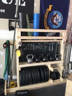 Garage Gym Weight Rack And Gym Equipment Organizer on Amazing Garage Ideas 5301 Home Gym Garage, Diy Home Gym, Home Gym Decor, Basement Gym, Best Home Gym, Basement Ideas, Cheap Home Gym, Garage Closet, Garage House