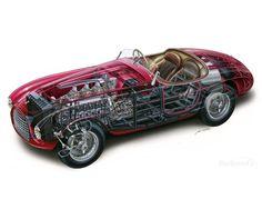 1949 Touring Ferrari Barchetta cutaway by Makoto Ouchi Cutaway, Touring, Automobile, Ferrari Car, Automotive Art, Car Engine, Race Cars, Cool Cars, Super Cars