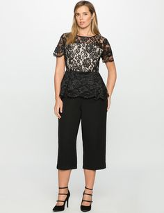 Studio Lace Bodice Peplum Jumpsuit Black