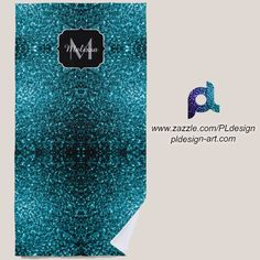 Beautiful Aqua blue glitter sparkles Monogram Beach Towel by #PLdesign #sparkles #BlueSparkles #SparklesGift #zazzle